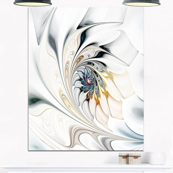 Shop White Stained Glass Floral Art - Large Floral Glossy Metal Wall ...