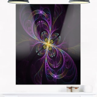 Purple Abstract Floral Shapes - Large Floral Glossy Metal Wall Art