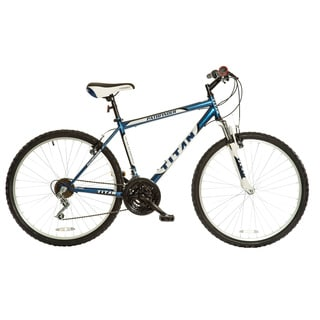 Titan Men's Pathfinder 18-speed Midnight Blue Suspension Mountain Bile