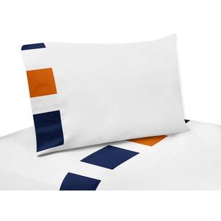 Sweet Jojo Designs Navy Blue and Orange Stripe Collection 4-piece Sheet Set