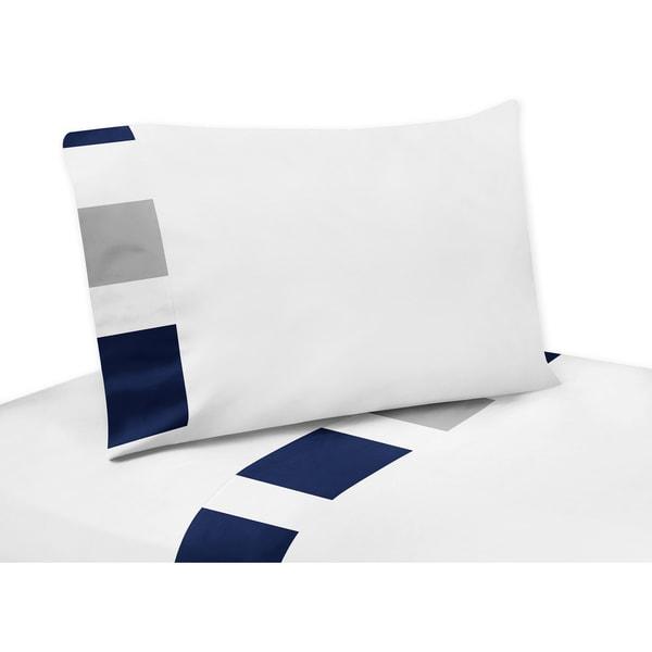 Sweet Jojo Designs Navy Blue and Gray Stripe Collection Sheet Set