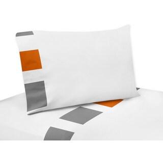 Sweet Jojo Designs Grey and Orange Stripe Collection 4-piece Sheet Set
