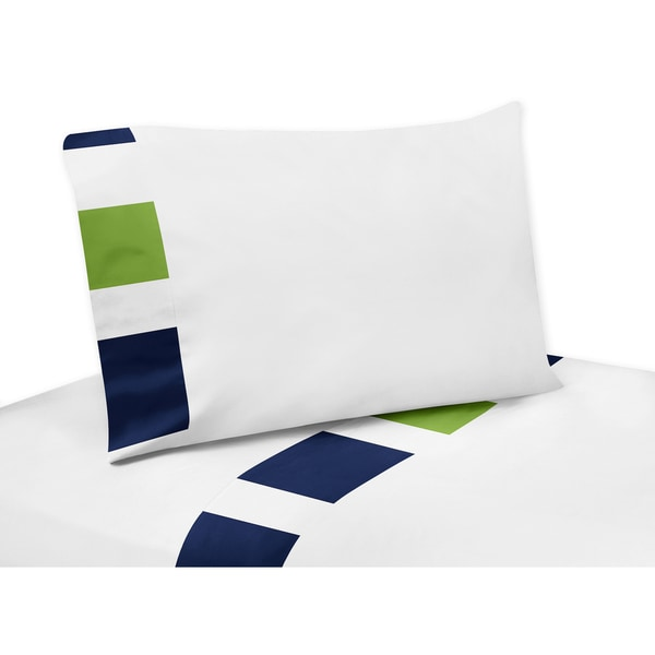 Sweet Jojo Designs Navy Blue and Lime Green Stripe Collection Sheet Set