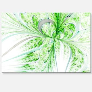 Green Grungy Floral Fractal Shapes - Large Floral Glossy Metal Wall Art
