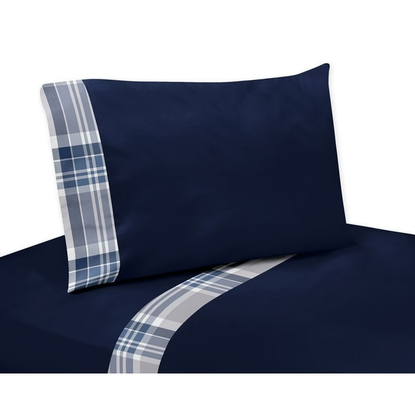 Sweet Jojo Designs Navy Blue and Grey Plaid Collection 4-piece Sheet Set