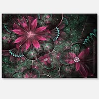 Glossy Green and Red Fractal Flowers - Large Floral Glossy Metal Wall Art