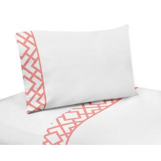 Sweet Jojo Designs Mod Diamond Collection White/ Coral Sheet Set