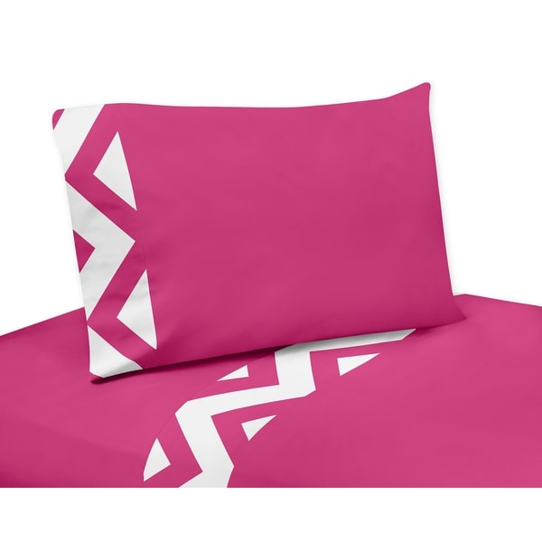 Sweet Jojo Designs Pink and White Chevron Collection 4-piece Sheet Set