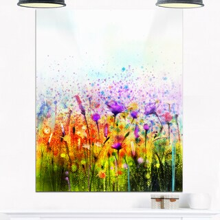 Abstract Cosmos of Colorful Flowers - Large Flower Glossy Metal Wall Art