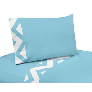 Sweet Jojo DesignsTurquoise and White Chevron Collection Queen Sheet Set