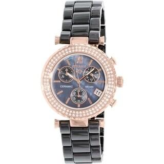 Precimax Women's Lily Elite Crystal Black Ceramic Quartz Watch
