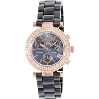 Precimax Women's Lily Elite Crystal Black Ceramic Quartz Watch
