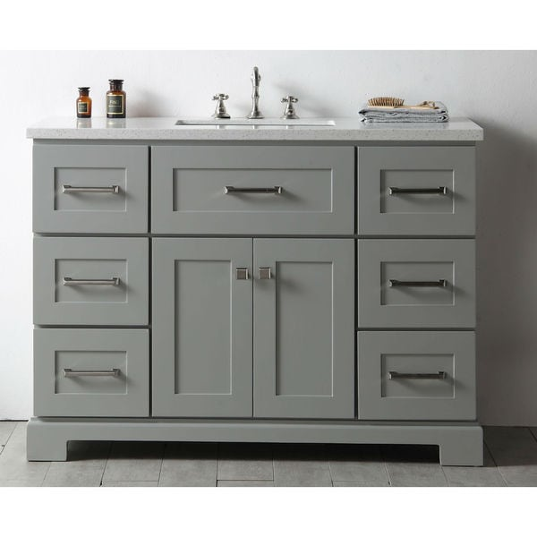 shop legion quartz top cool grey 48 inch single bathroom vanity free shipping today. Black Bedroom Furniture Sets. Home Design Ideas