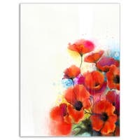 Bunch of Watercolor Poppy Flowers - Large Flower Glossy Metal Wall Art