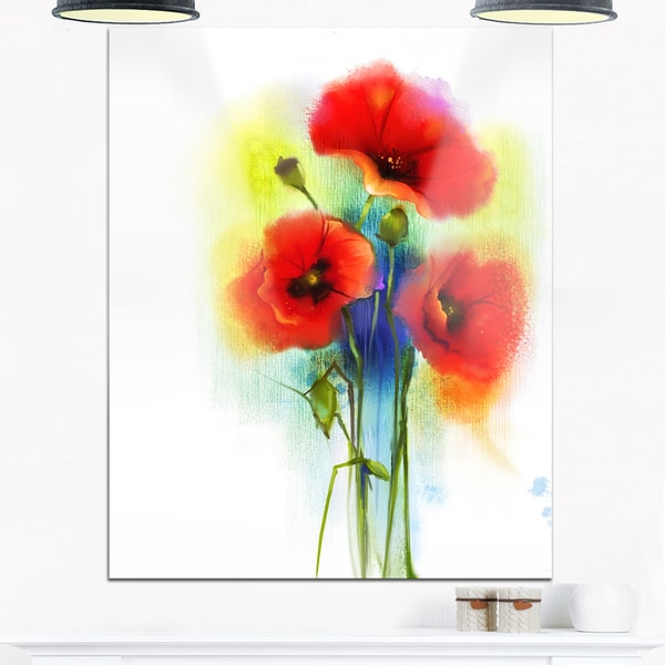 Shop bunch of bright red poppy flowers large flower glossy metal bunch of bright red poppy flowers large flower glossy metal wall art mightylinksfo
