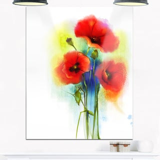 Bunch of Bright Red Poppy Flowers - Large Flower Glossy Metal Wall Art
