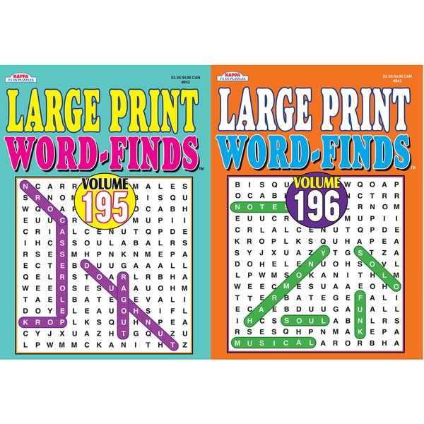 Kappa Publication 3842 Large Print Word-Finds Assorted Volumes