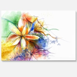 Abstract Multi-color Flower Fusion - Large Flower Glossy Metal Wall Art