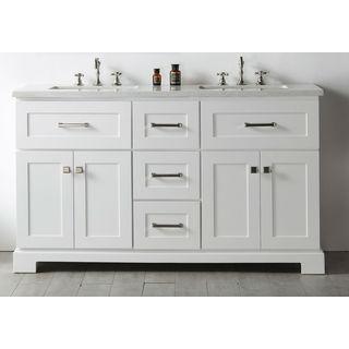 Legion Furniture Quartz Top White 60-inch Double Bathroom Vanity