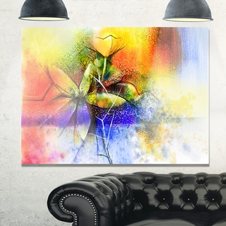 Abstract Colorful Flower Fusion - Large Flower Glossy Metal Wall Art