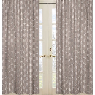 Sweet Jojo Designs Outdoor Adventure Collection Stone Grey and White Arrow Print Cotton 84-inch Long Curtain Panel Pair