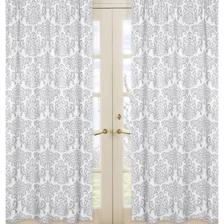 Sweet Jojo Designs Skylar Collection Grey and White Cotton Damask Curtain Panel Pair