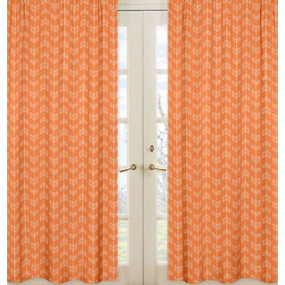 Sweet Jojo Designs Arrow Collection Orange and White Microfiber Curtain Panel Pair (As Is Item)