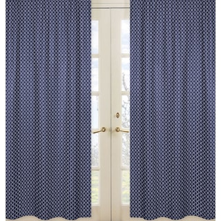 Sweet Jojo Designs Arrow Collection Navy Blue and White Hexagon Print Microfiber Curtain Panel Pair