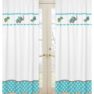 Sweet Jojo Designs Mod Elephant Collection Multicolor Cotton/Polyester Window Panels (Set of 2)