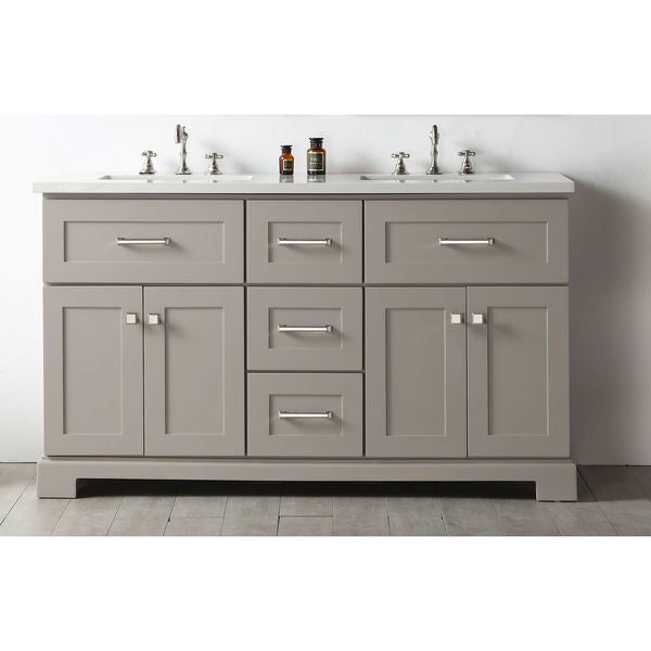 Legion Quartz Top Warm Grey 60-inch Double Bathroom Vanity