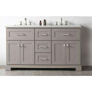 Legion Furniture Quartz Top Warm Grey 60-inch Double Sink Bathroom Vanity