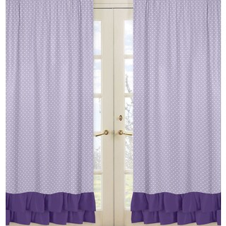 Sweet Jojo Designs Sloane Collection Lavender/Purple/White Cotton Curtain Panel Pair