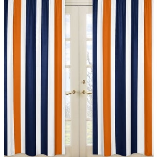 Sweet Jojo Designs Stripe Collection Navy Blue/Orange/White Curtain Panel Pair