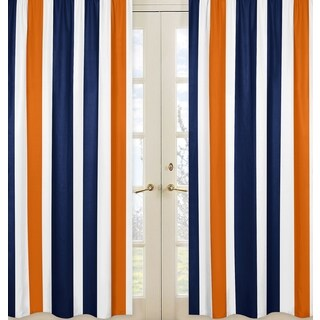 Sweet Jojo Designs Stripe Collection Navy Blue/Orange/White Curtain Panel Pair