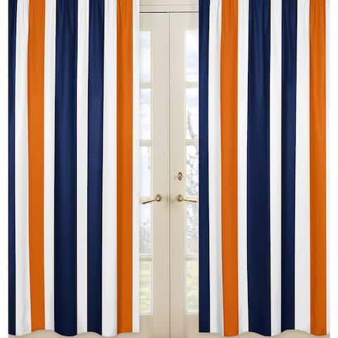 Sweet Jojo Designs Stripe Collection Navy Blue/Orange/White Curtain Panel Pair - 42 x 84