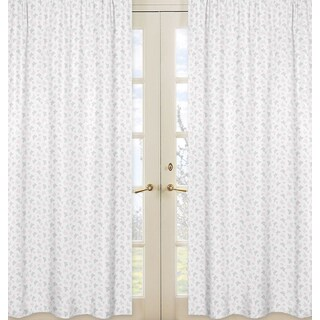 Sweet Jojo Designs Alexa Collection Pink, Grey, and White Microfiber 84-inch Mini Butterfly Print Curtain Panels (Set of 2)