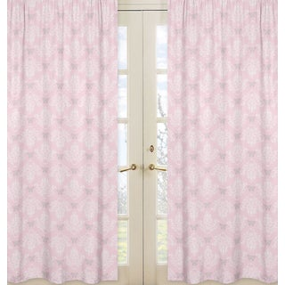 Sweet Jojo Designs Alexa Collection Light Pink/Grey/White Microfiber Damask Curtain Panel Pair
