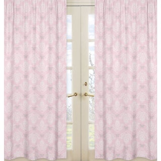 Sweet jojo designs alexa collection light pink grey white for Light pink and gray curtains
