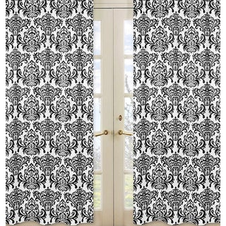 Sweet Jojo Designs Isabella Collection Black and White Damask Cotton Curtain Panel Pair