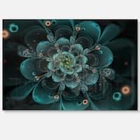 Full Bloom Fractal Flower in Blue - Large Flower Glossy Metal Wall Art