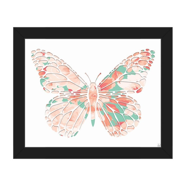 Pink Rose Butterfly' Black-frame Canvas Wall Art