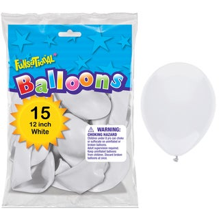 "Pioneer National Latex 55126 12"" White Funsational Balloons 15-count"
