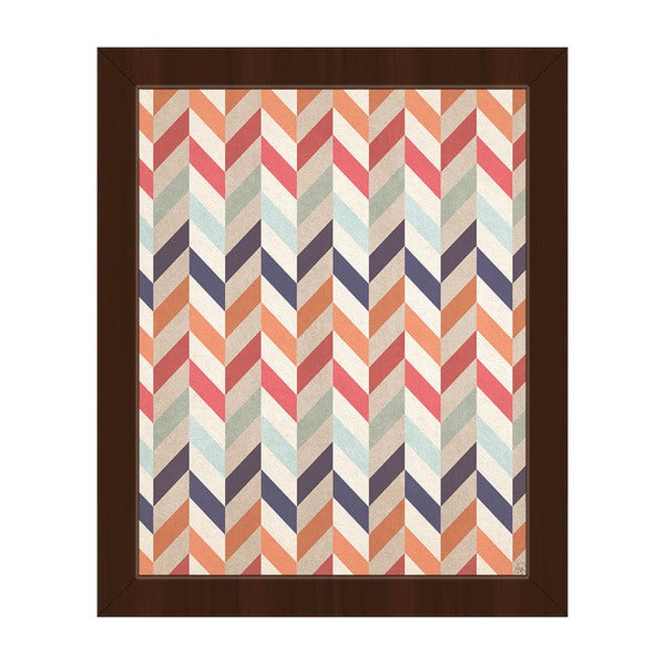 Autumn Chevron Pattern Framed Canvas Wall Art
