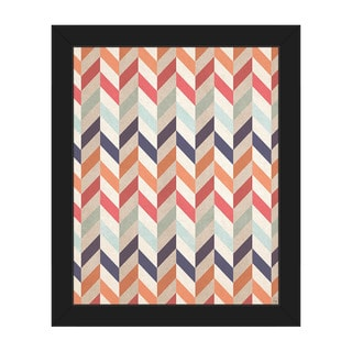 Autumn' Black Plastic Framed Canvas Chevron Pattern Wall Art
