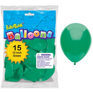 "Pioneer National Latex 55165 12"" Green Funsational Balloons 15-count"