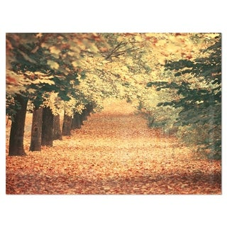 Autumn Forest with Walking Path - Modern Forest Glossy Metal Wall Art