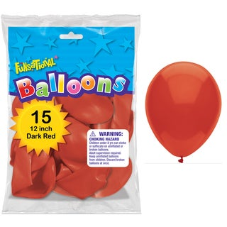 "Pioneer National Latex 55170 12"" Dark Red Funsational Balloons 12-count"