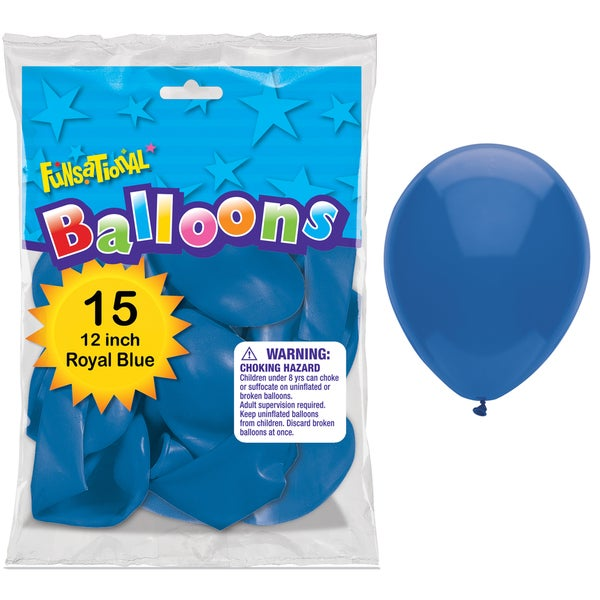 "Pioneer National Latex 55171 12"" Royal Blue Funsational Balloons 15-count"