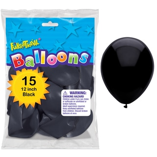 "Pioneer National Latex 55175 12"" Black Funsational Balloons 15-count"