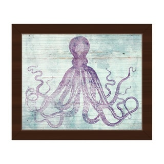 Vintage Octopus Mauve' Framed Canvas Wall Art